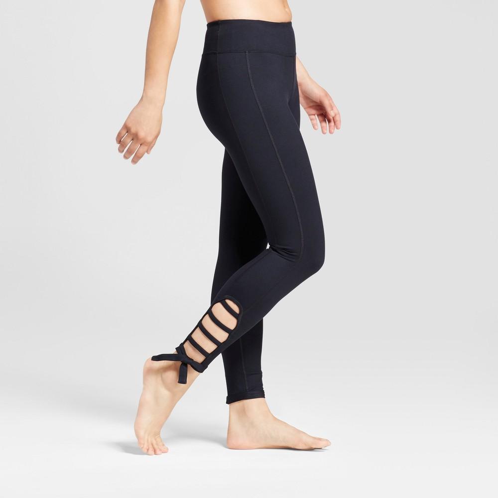 Womens 7/8 Comfort Side Tie Leggings - JoyLab Black M