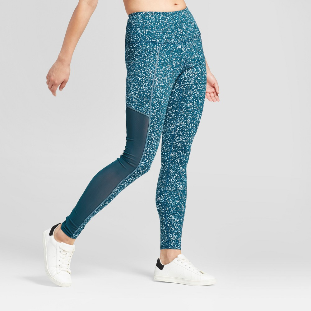 Womens Premium High Waist Mesh Reflective Splatter Leggings - JoyLab Teal XS, Blue