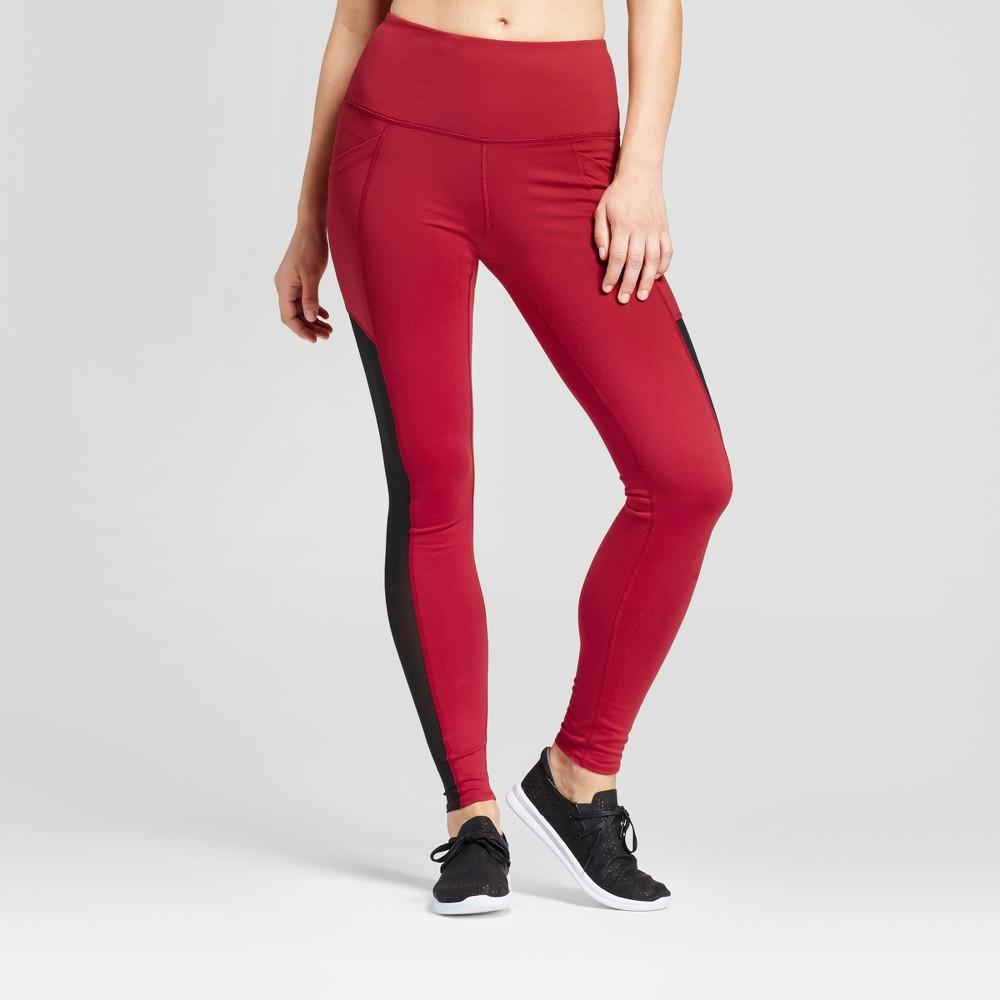 Womens Premium High Waist Mesh Panel Leggings - JoyLab Crimson S, Red