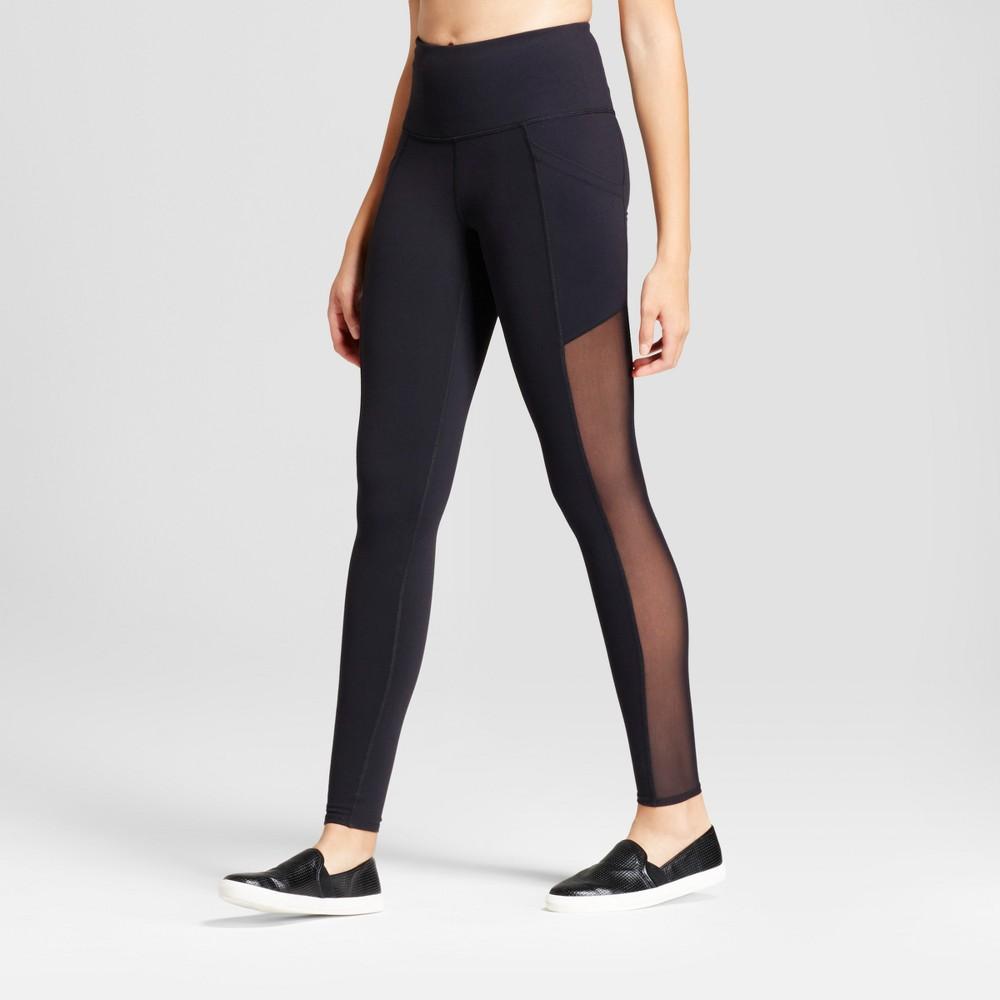 Women's Premium High Waist Mesh Panel Leggings - JoyLab Black XL