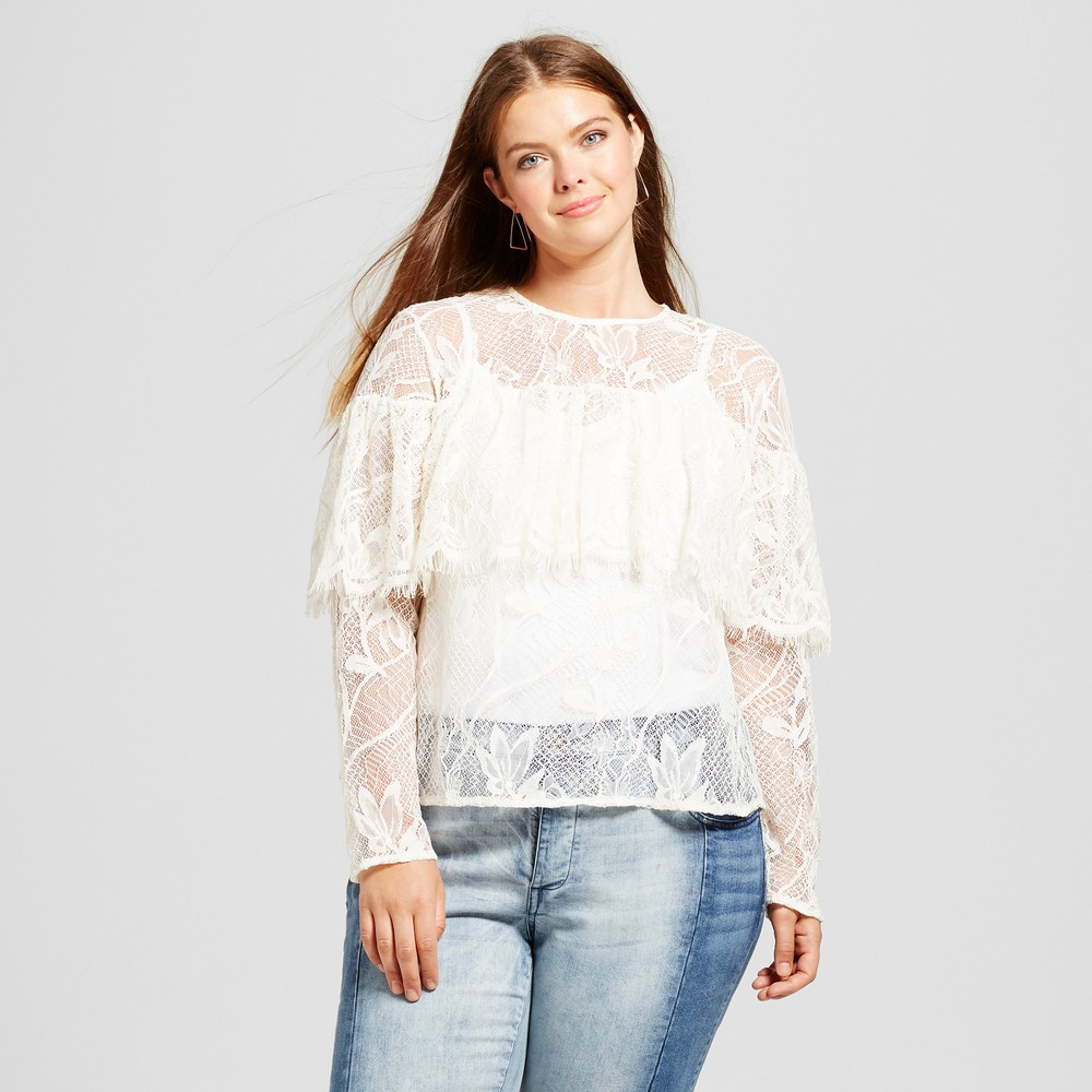 Womens Plus Size Layered Lace Top - Who What Wear White 2X