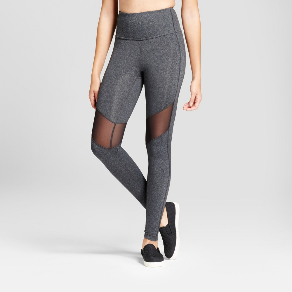 Women's Premium High Waist Mesh Leggings - JoyLab Charcoal Heather S