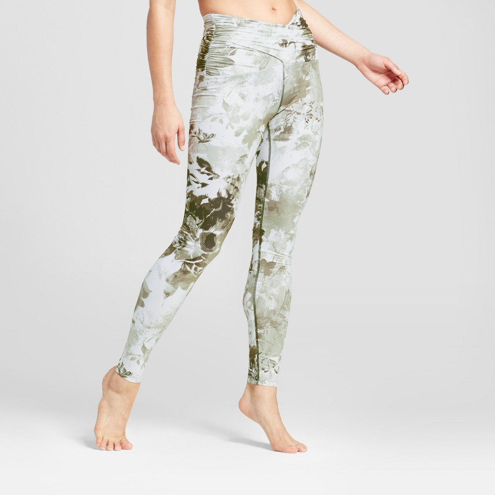 Womens Comfort Ruched Waist Leggings - JoyLab Olive Floral Xxl, Multicolored