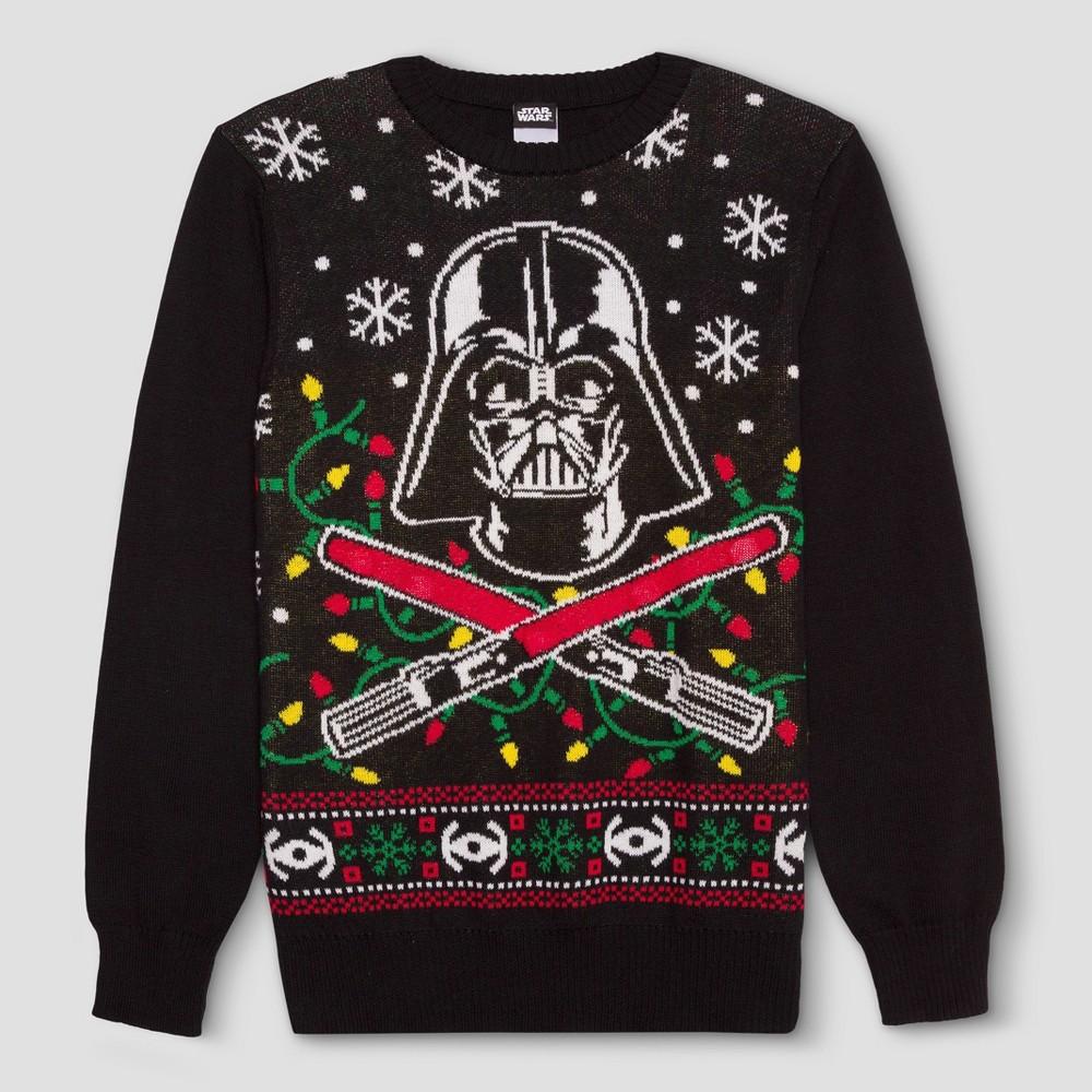 Mens Star Wars Ugly Holiday Light-Up Darth Vader Sweater - Black S