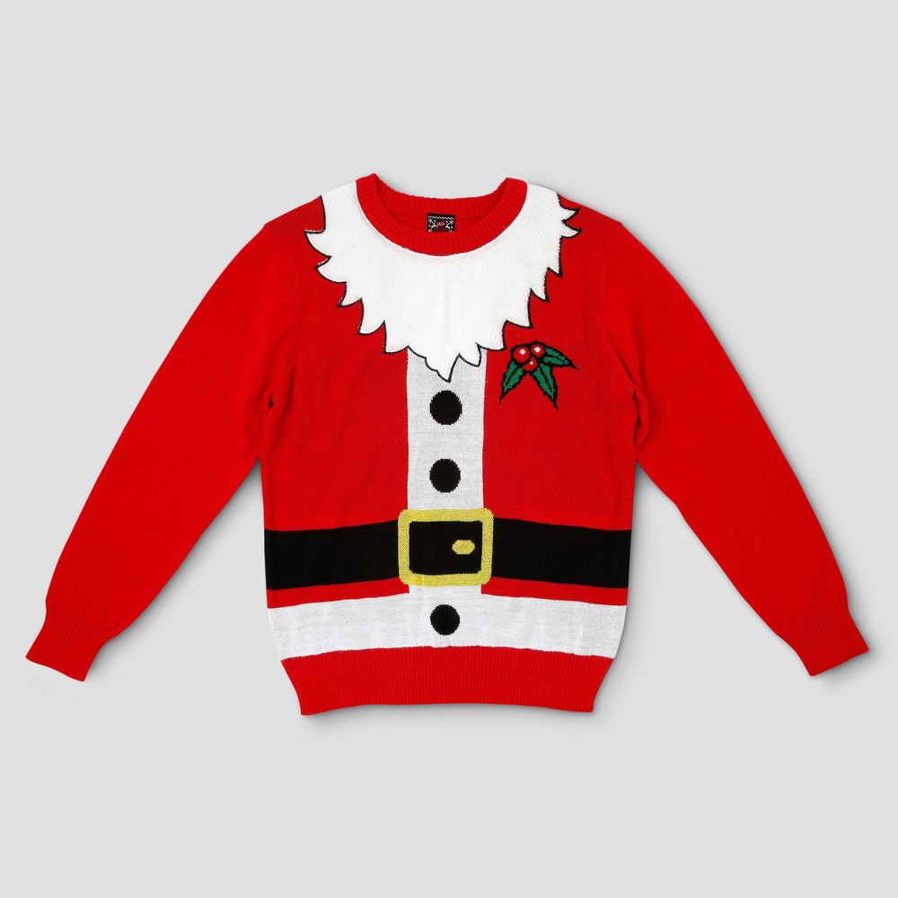 Mens Ugly Holiday Santa with Beard Sweater - Well Worn Red S