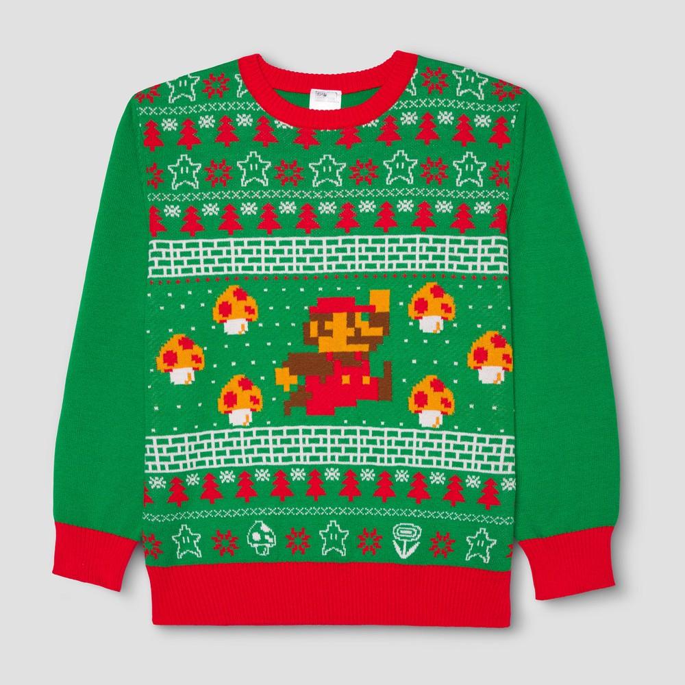 Mens Nintendo Super Mario Ugly Holiday Mario Sweater - Green S