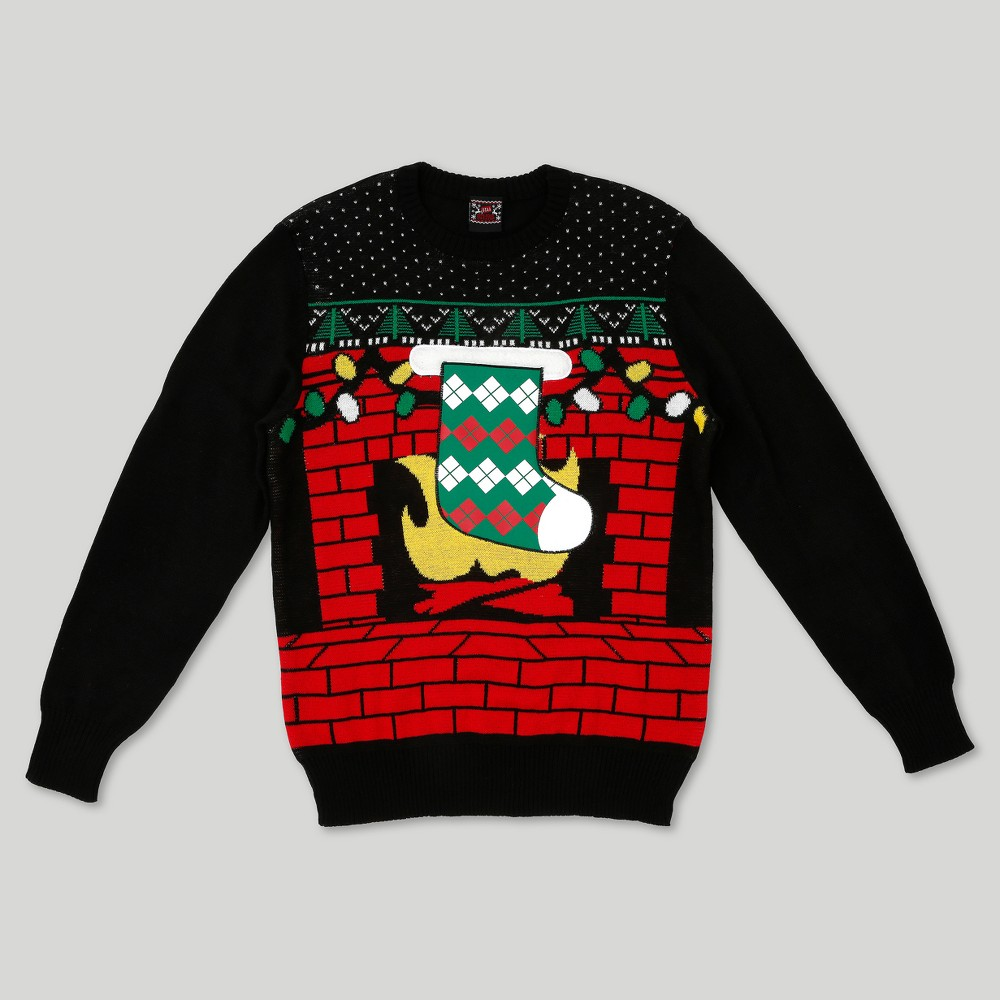 Mens Ugly Holiday Stocking Coozie Sweater - Well Worn Black S