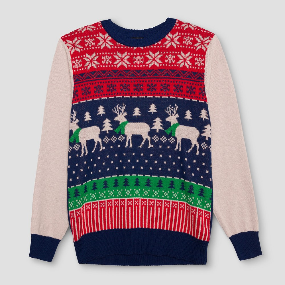 Mens Ugly Holiday Reindeer Fairisle Sweater - Well Worn Navy M, Blue