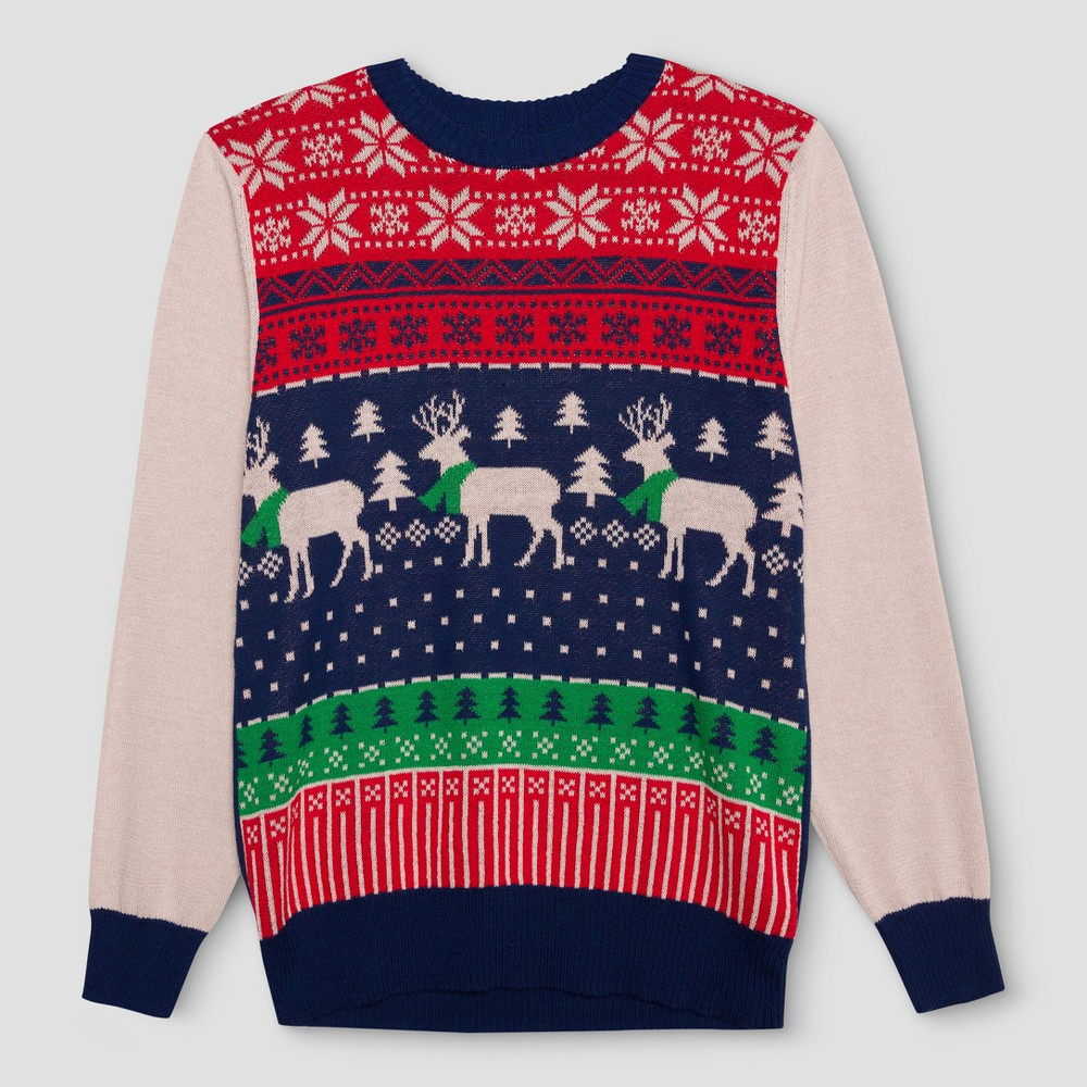 Mens Ugly Holiday Reindeer Fairisle Sweater - Well Worn Navy L, Blue