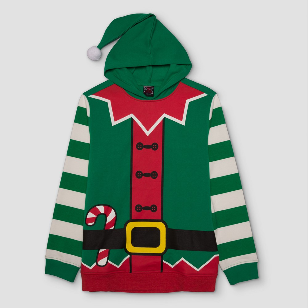 Mens Ugly Holiday Elf with Hood Pullover - Well Worn Green XL