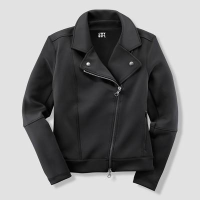 Black zippered moto jacket