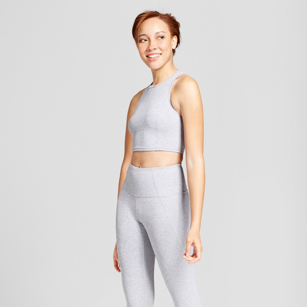 Womens Mini Stripe Long Line Crop Top - JoyLab Heather Gray L