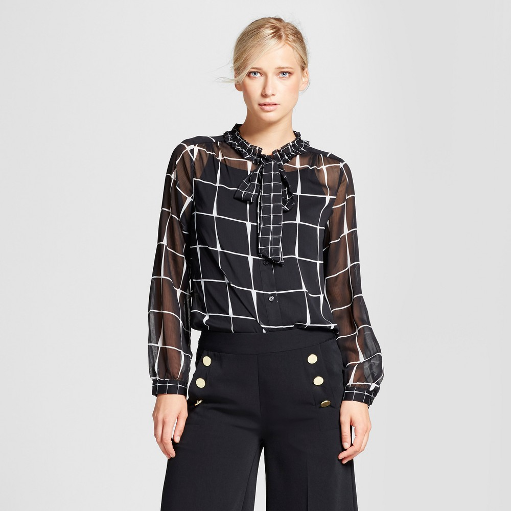 Womens Drapey Tie Neck Blouse - Who What Wear Black Plaid M