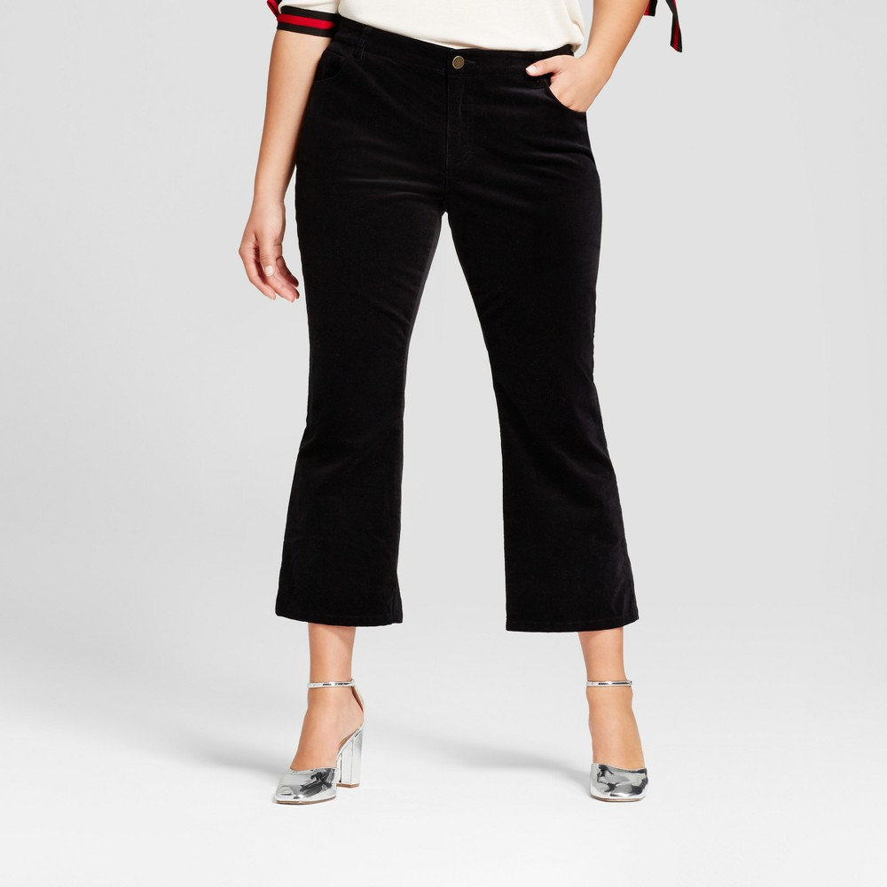 Womens Plus Size Cropped Flare Cord - Who What Wear Black 20W
