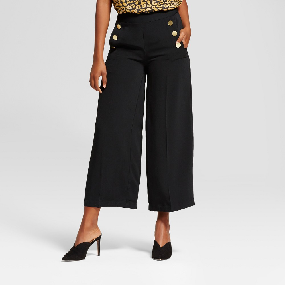 Womens Wide Leg Cropped Sailor Pants - Who What Wear Black 14