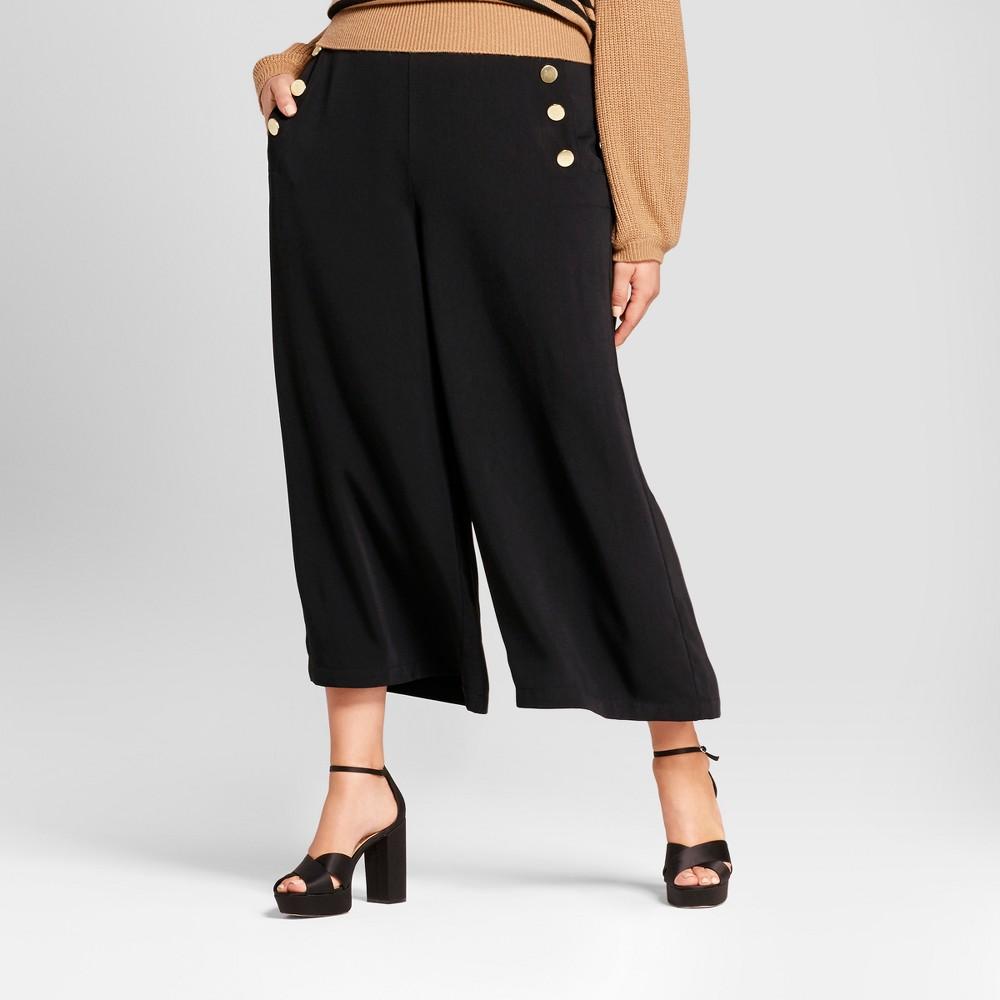 Womens Plus Size Wide Leg Cropped Sailor Pants - Who What Wear Black 14W