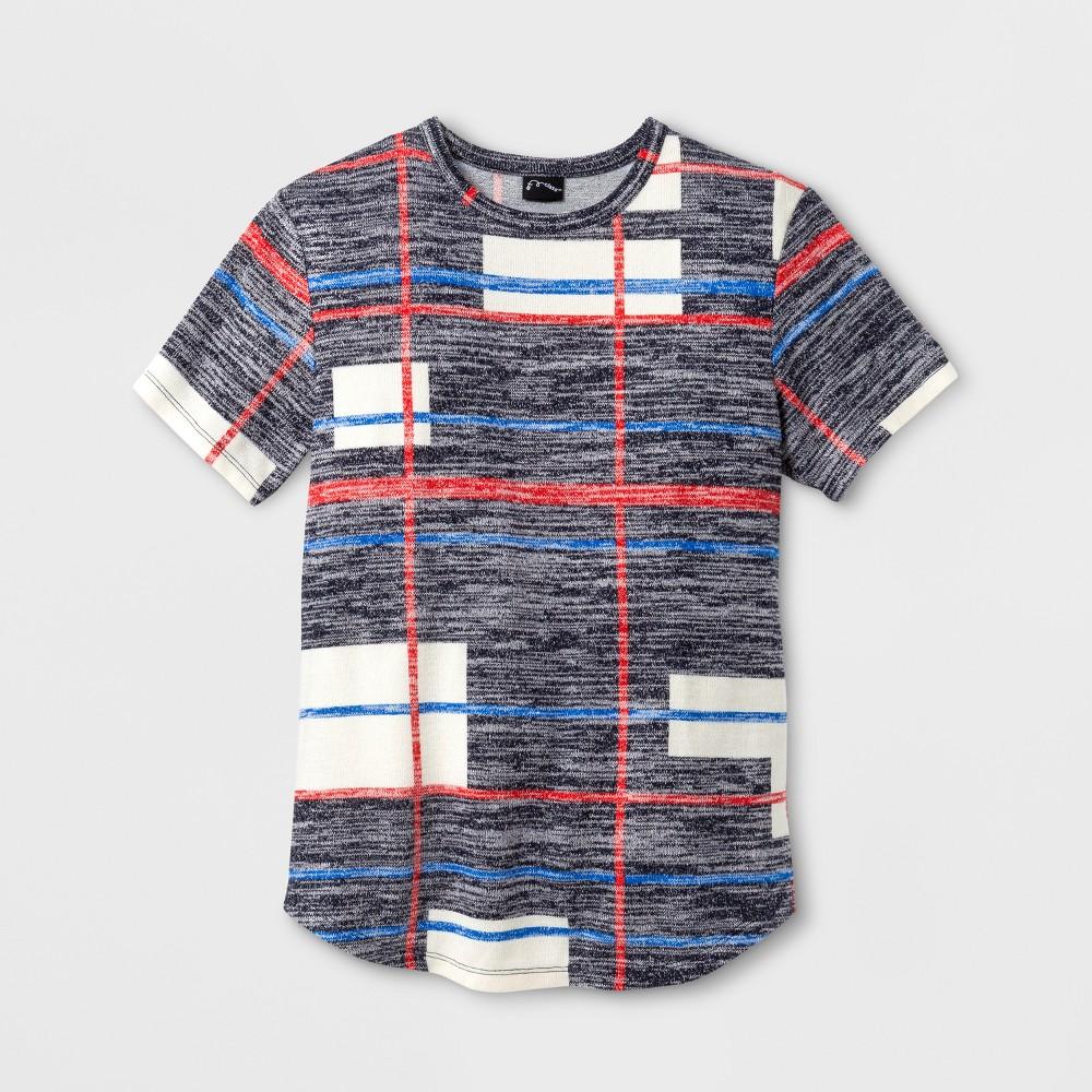 Boys Plaid Short Sleeve T-Shirt - Art Class Charcoal S, Gray