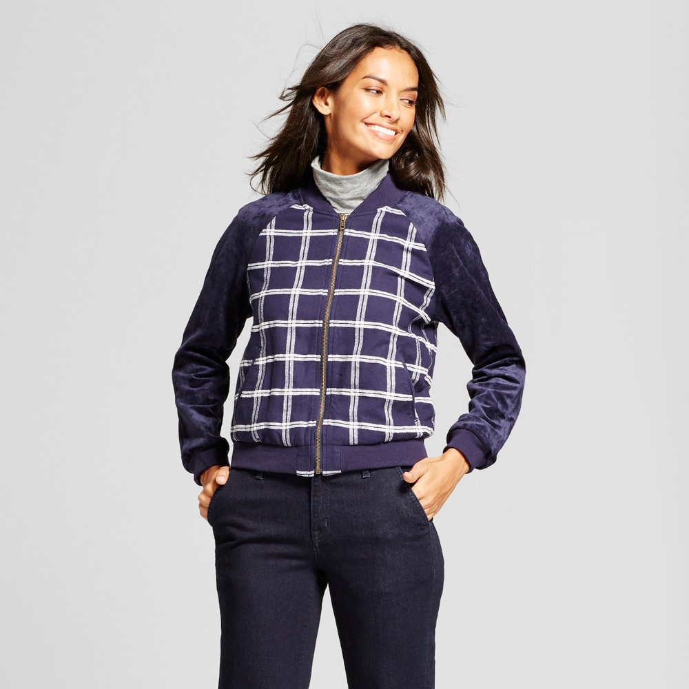 Womens Plaid Bomber Jacket - A New Day Navy S, Blue