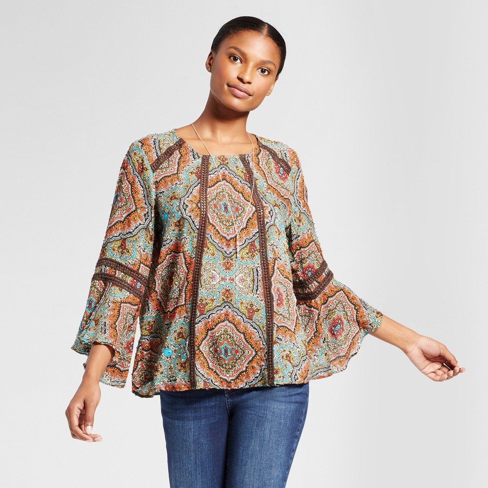 Womens Printed Woven Blouse with Crochet Detail - JohnPaulRichard XL, Brown