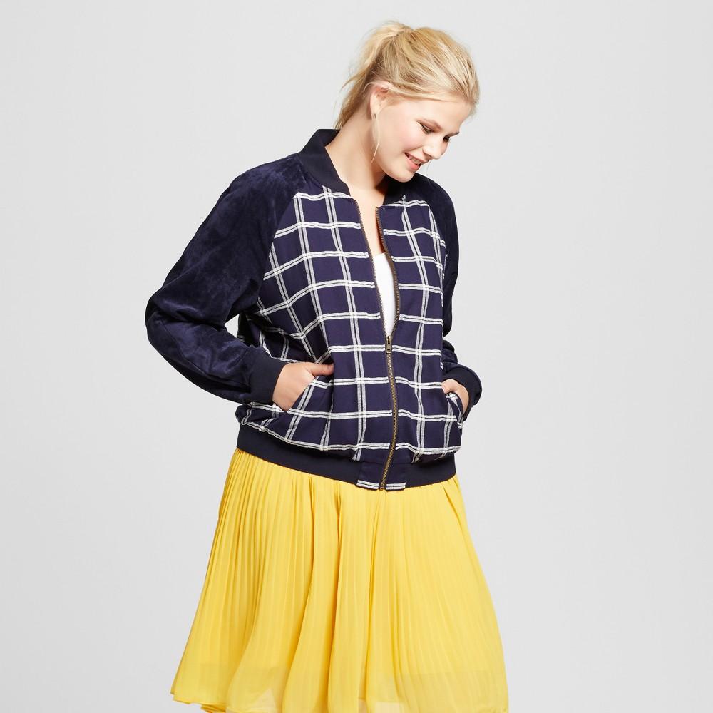 Womens Plus Size Velvet Bomber Jacket - A New Day Navy 4X, Blue