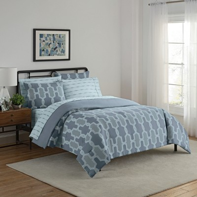 Blue Trellis Nantes Bed in a Bag Set (King)7pc - Simmons®