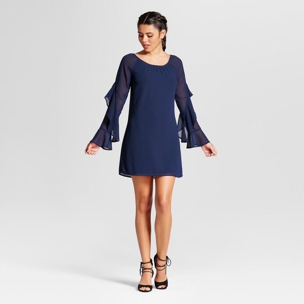 Womens Statement Sleeve Scoop Neck Dress - 3Hearts (Juniors) Blue L