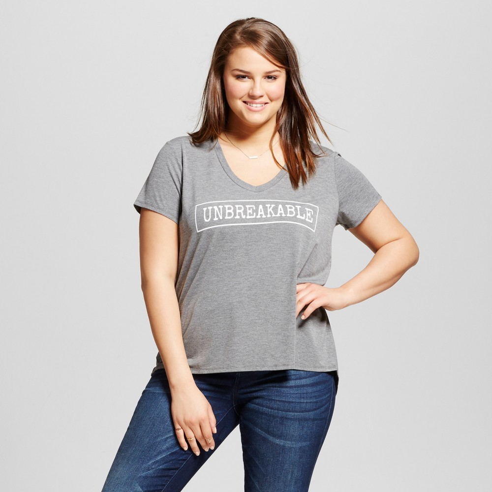 Womens Plus Size Unbreakable Short Sleeve T-Shirt - Grayson Threads (Juniors) Gray 3X
