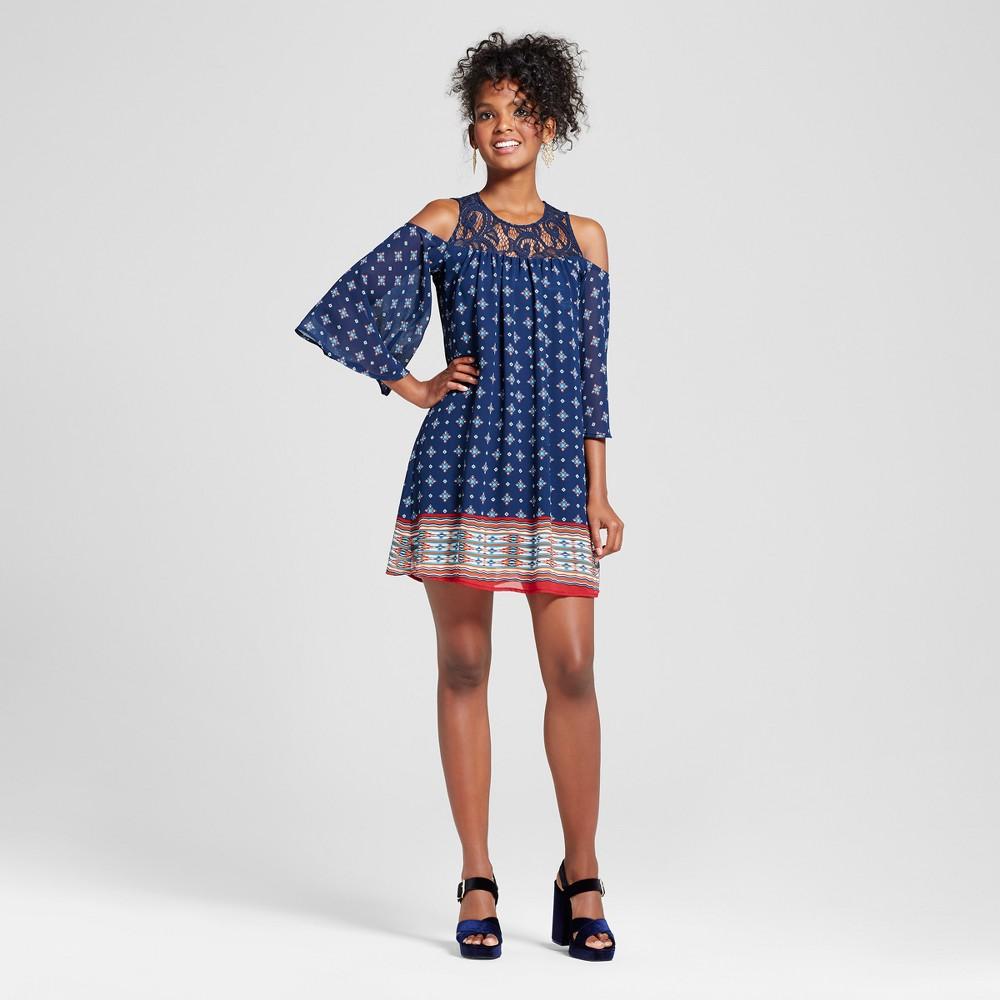 Womens Border Print Lace Yoke Cold Shoulder Dress - 3Hearts (Juniors) Blue L, Blue Red