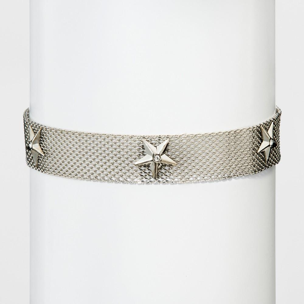 Womens Natasha Accessories Silver Mesh Star Embellished Choker - Silver (12), Light Silver