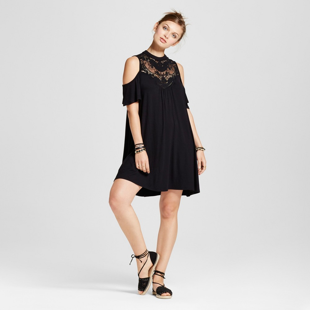 Womens Crochet High Neck Cold Shoulder Dress - 3Hearts (Juniors) Black S