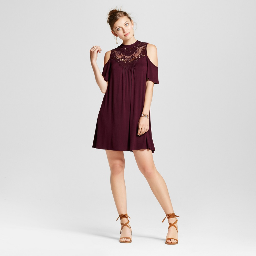 Womens Crochet High Neck Cold Shoulder Dress - 3Hearts (Juniors) Purple XS