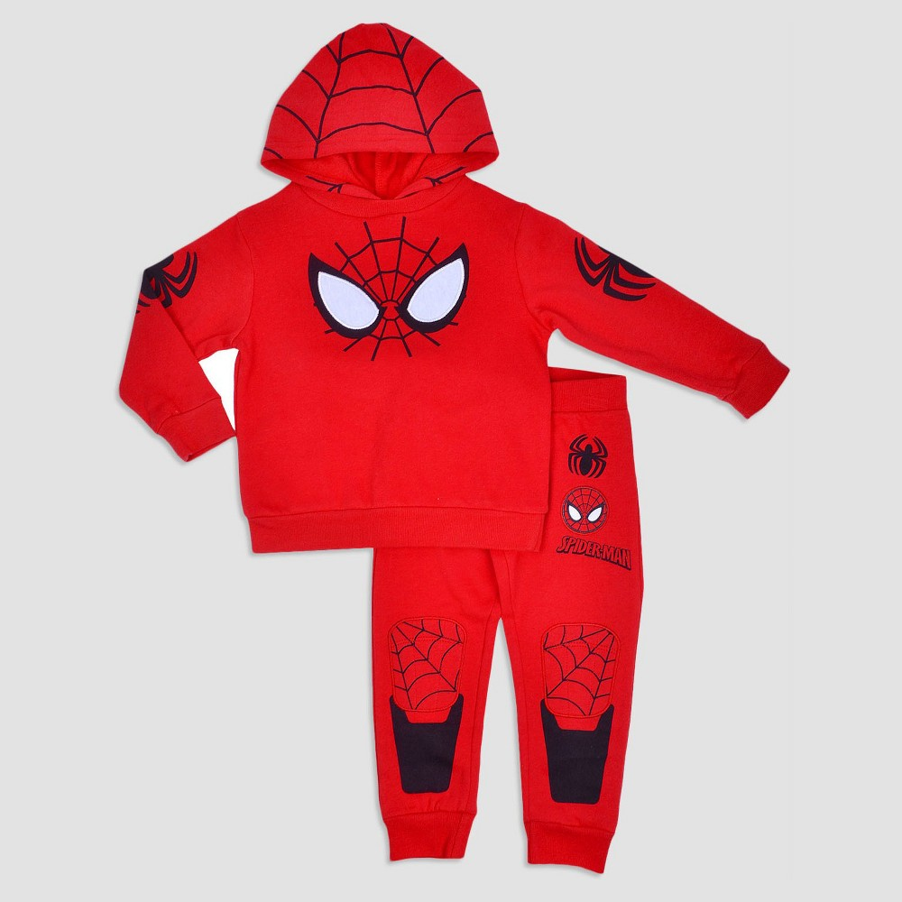 Toddler Boys Spider-Man Hoodie And Pants Set - Red 3T
