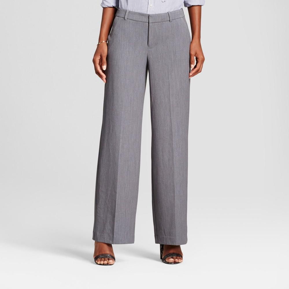 Womens Wide Leg Bi-Stretch Twill Pants - A New Day Gray 2L, Size: 2 Long