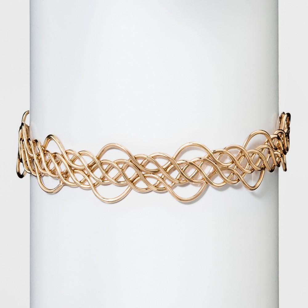 Womens Natasha Accessories Gold Metal Design Choker - Gold (4), Light Gold