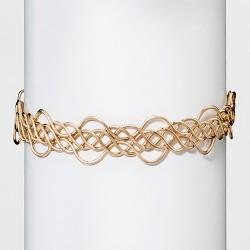 "Women's Natasha Accessories Gold Metal Design Choker - Gold (4"")"