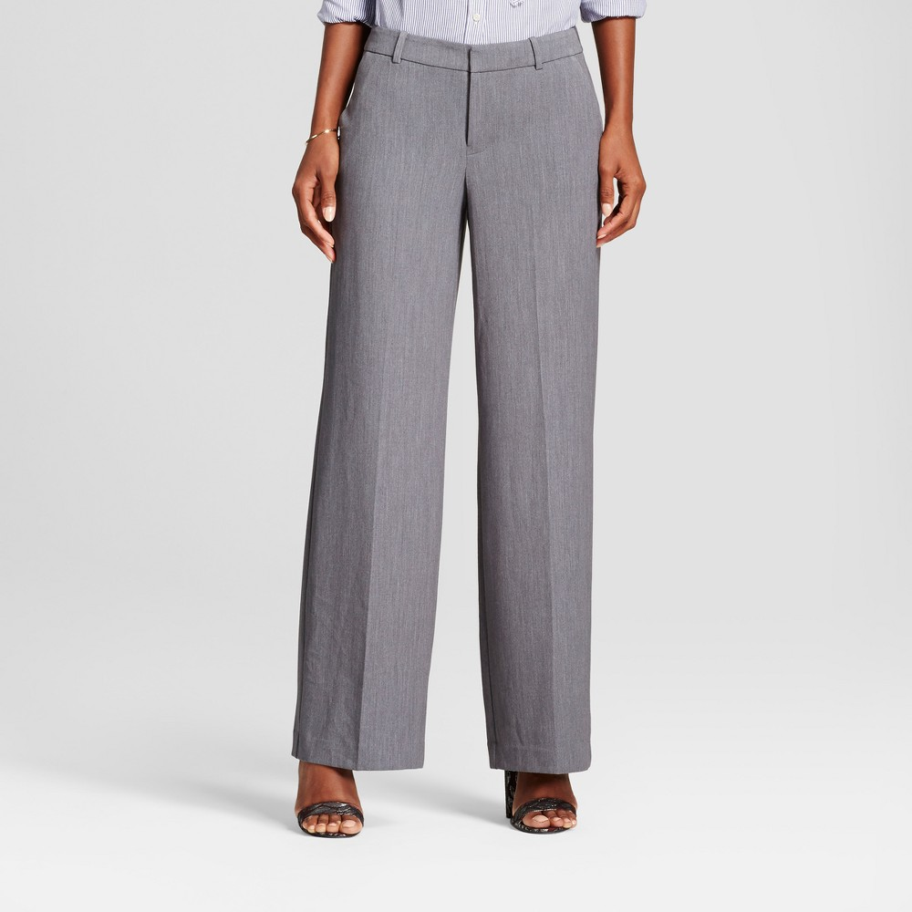 Womens Wide Leg Bi-Stretch Twill Pants - A New Day Gray 6L, Size: 6 Long