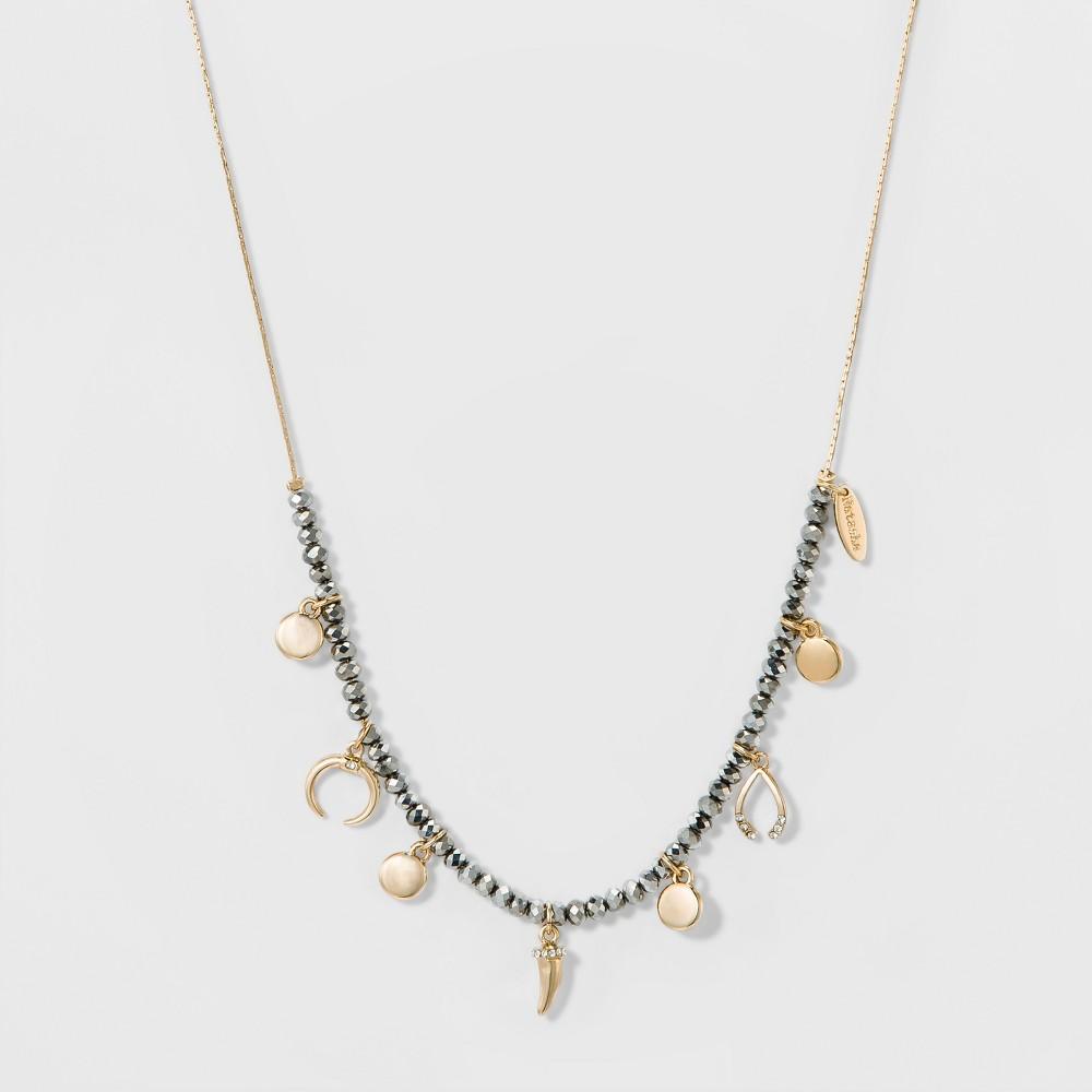 Womens Natasha Accessories Gold Adjustable Choker - Hematite (Adjustable Length), Light Gold
