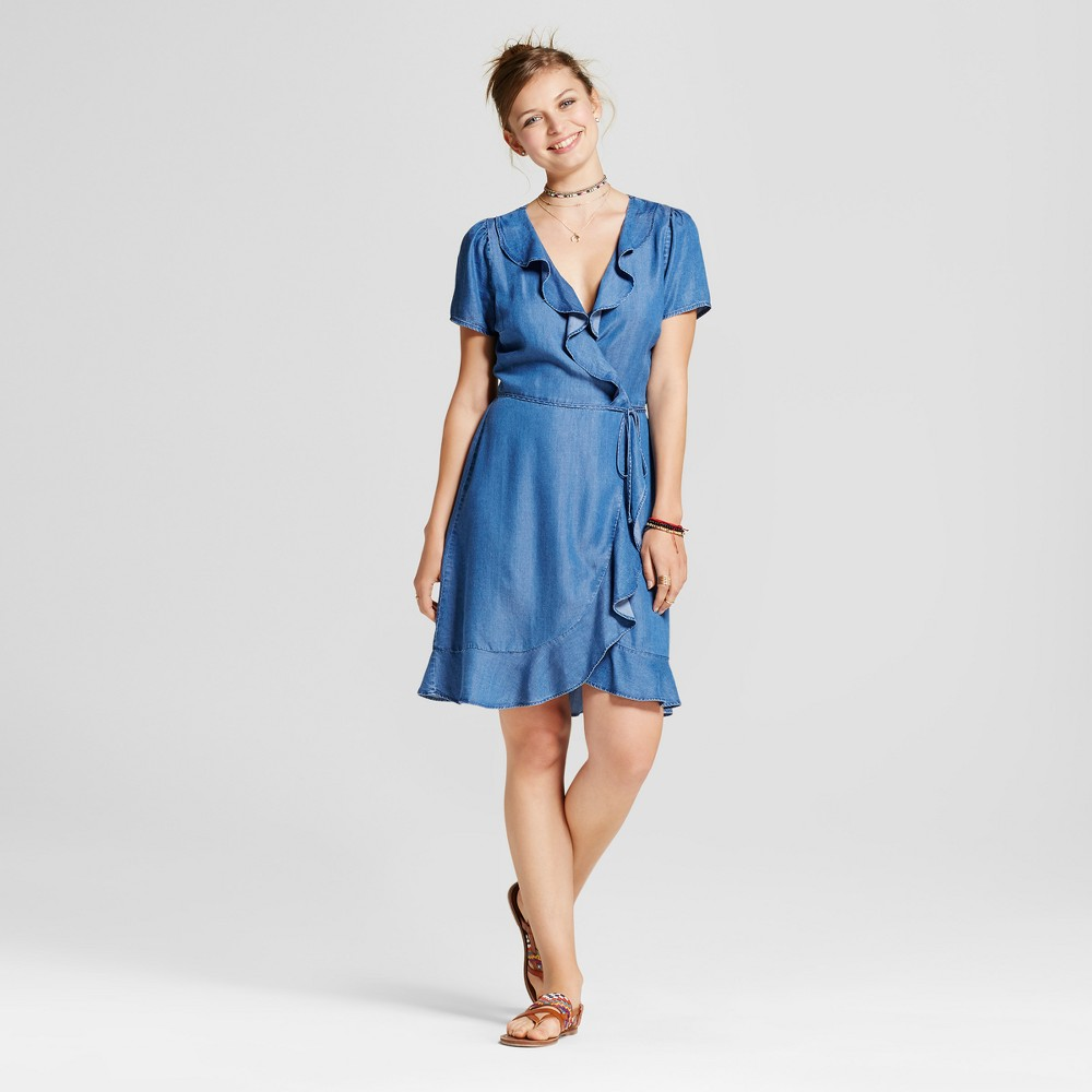 Womens Chambray Ruffle Wrap Dress - 3Hearts (Juniors) Blue XL