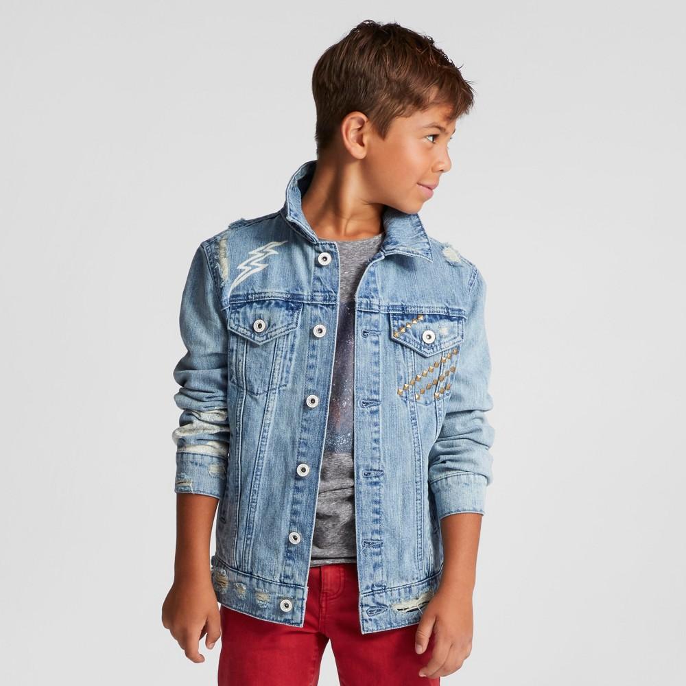Boys Distressed Denim Trucker Jacket - Art Class Light Indigo M, Blue