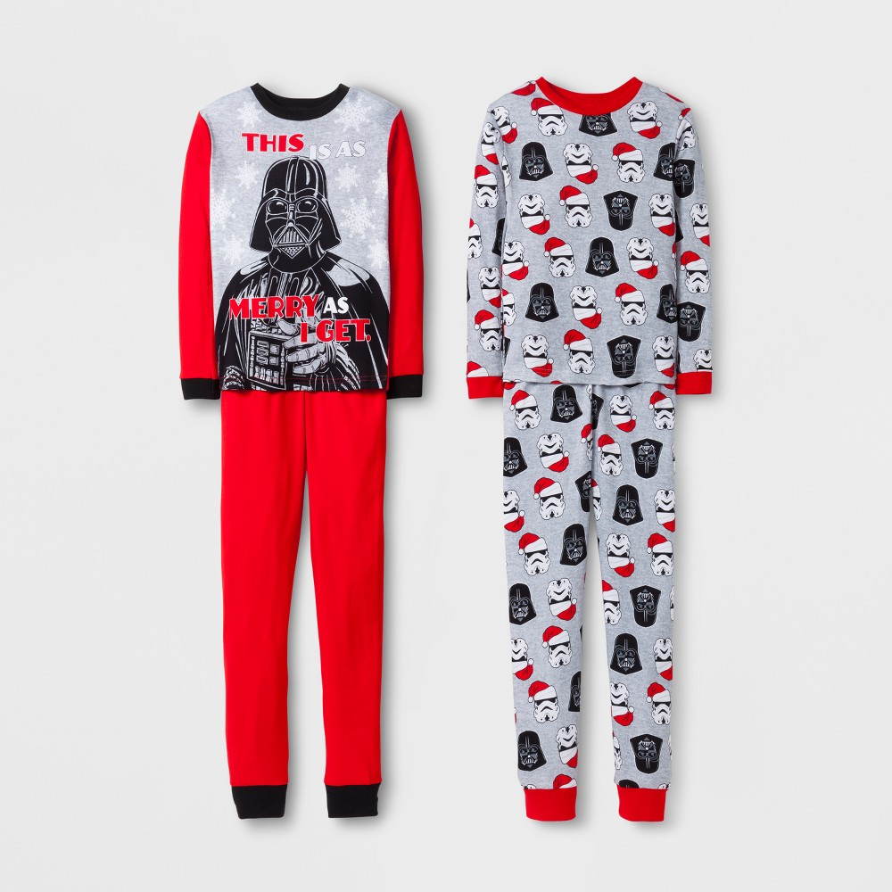 Boys Star Wars 4 Piece Cotton Pajama Set - Red 4