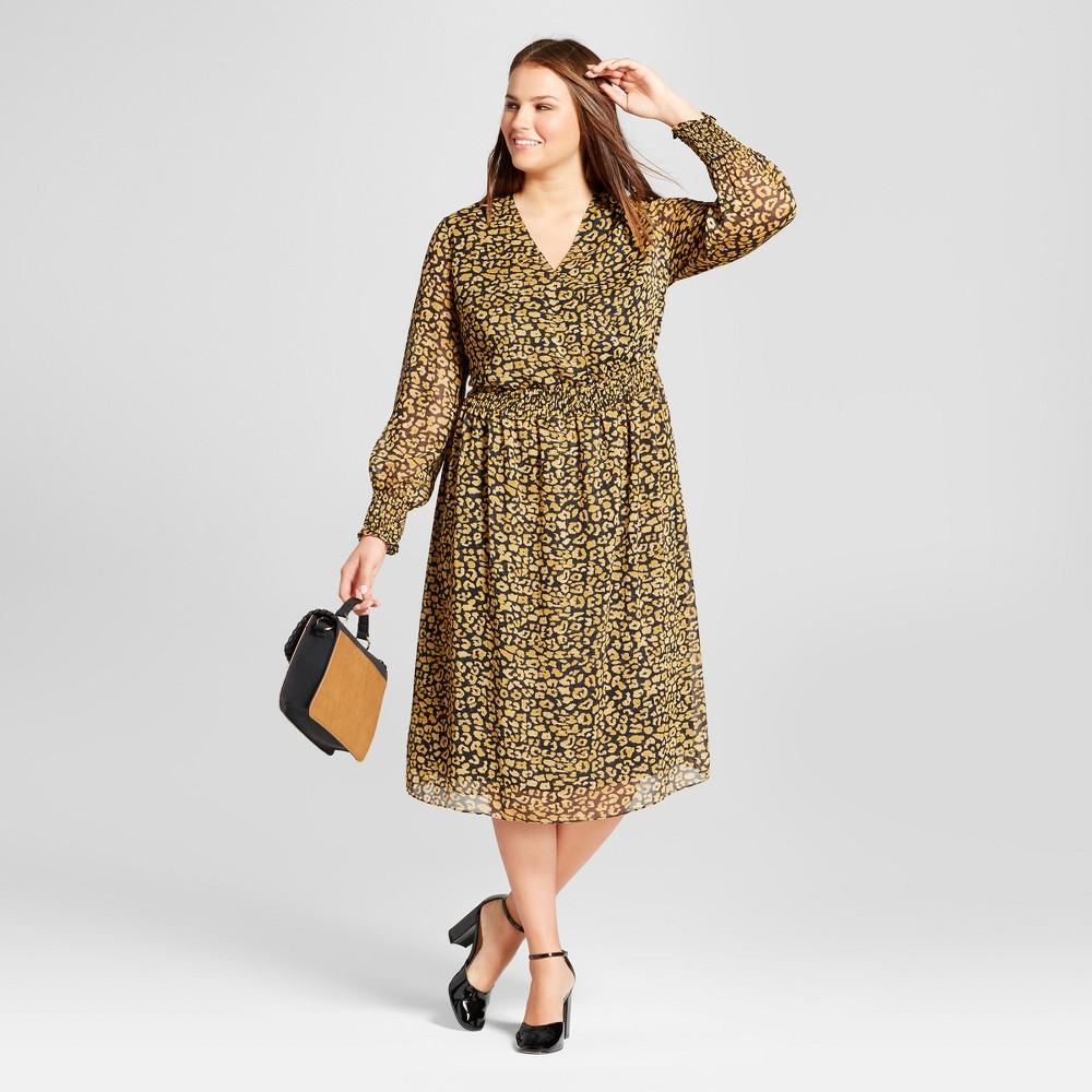 Womens Plus Size Smocked Waist Dress - Who What Wear Yellow Cheetah 4X