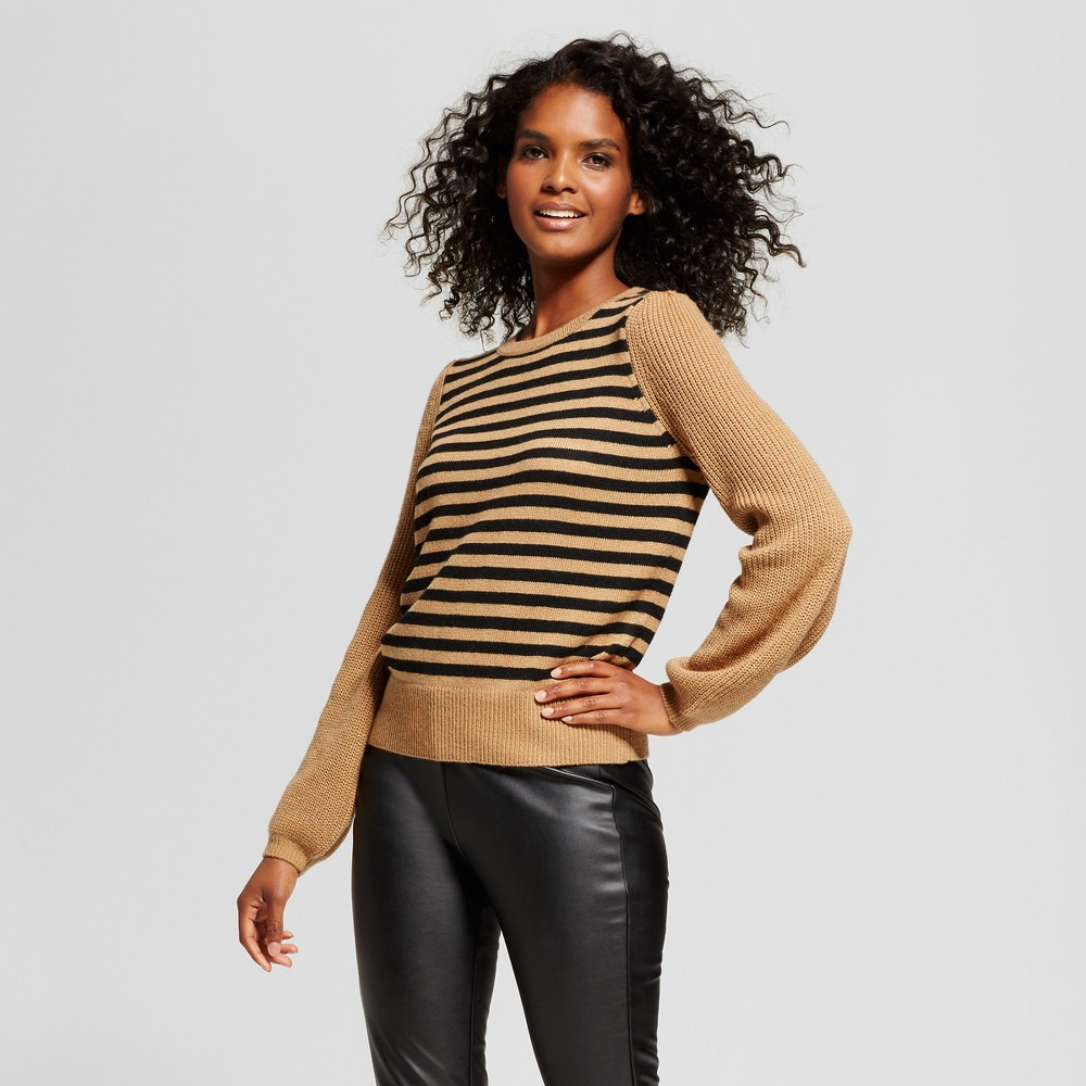 Womens Cozy Striped Crew Sweater - Who What Wear Brown/Black M
