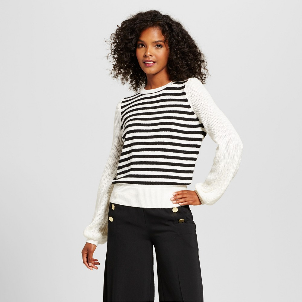Womens Cozy Striped Crew Sweater - Who What Wear White/Black XL
