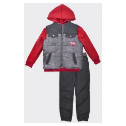 Little Rebels Toddler Boys' 3pc Top and Bottom Set - Gray/Red