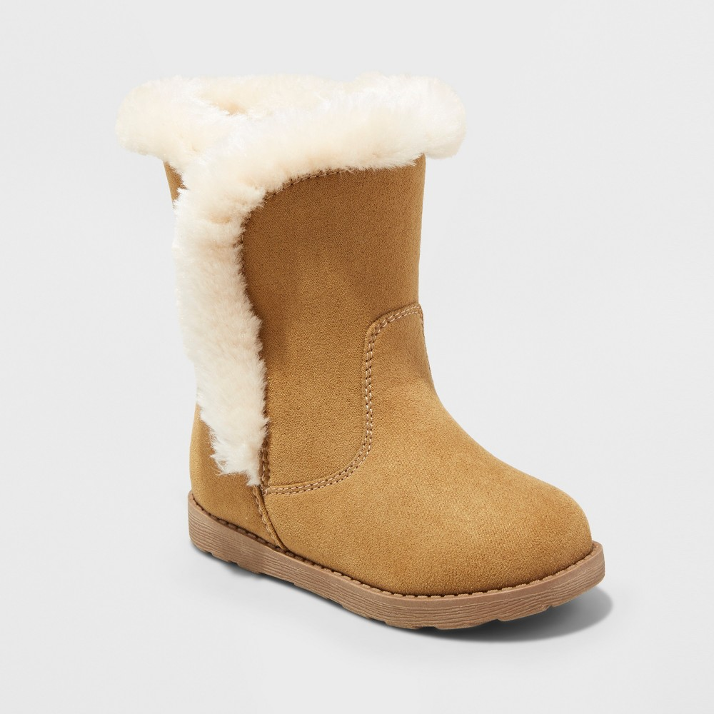 Toddler Girls Katrina Fleece Cozy Fashion Boots - Cat & Jack Tan 7
