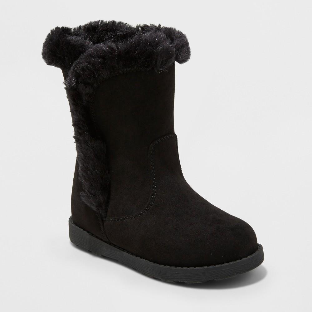 Toddler Girls Katrina Fleece Cozy Fashion Boots - Cat & Jack Black 8