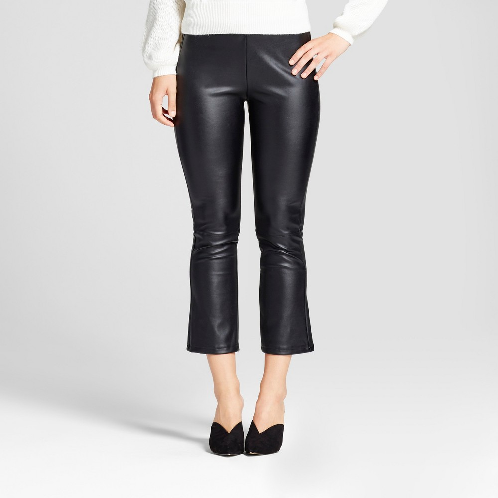 Womens Faux Leather Crop Flare - Who What Wear Black 4