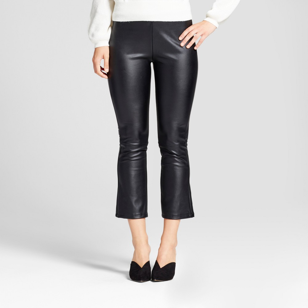 Womens Faux Leather Crop Flare - Who What Wear Black 6