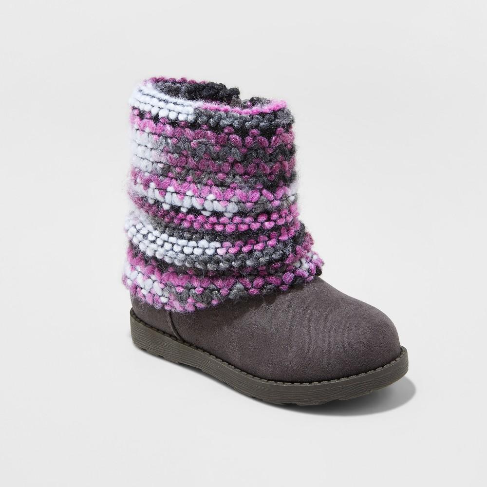 Toddler Girls Kayleen Fleece Sweater Fashion Boots - Cat & Jack Gray 6