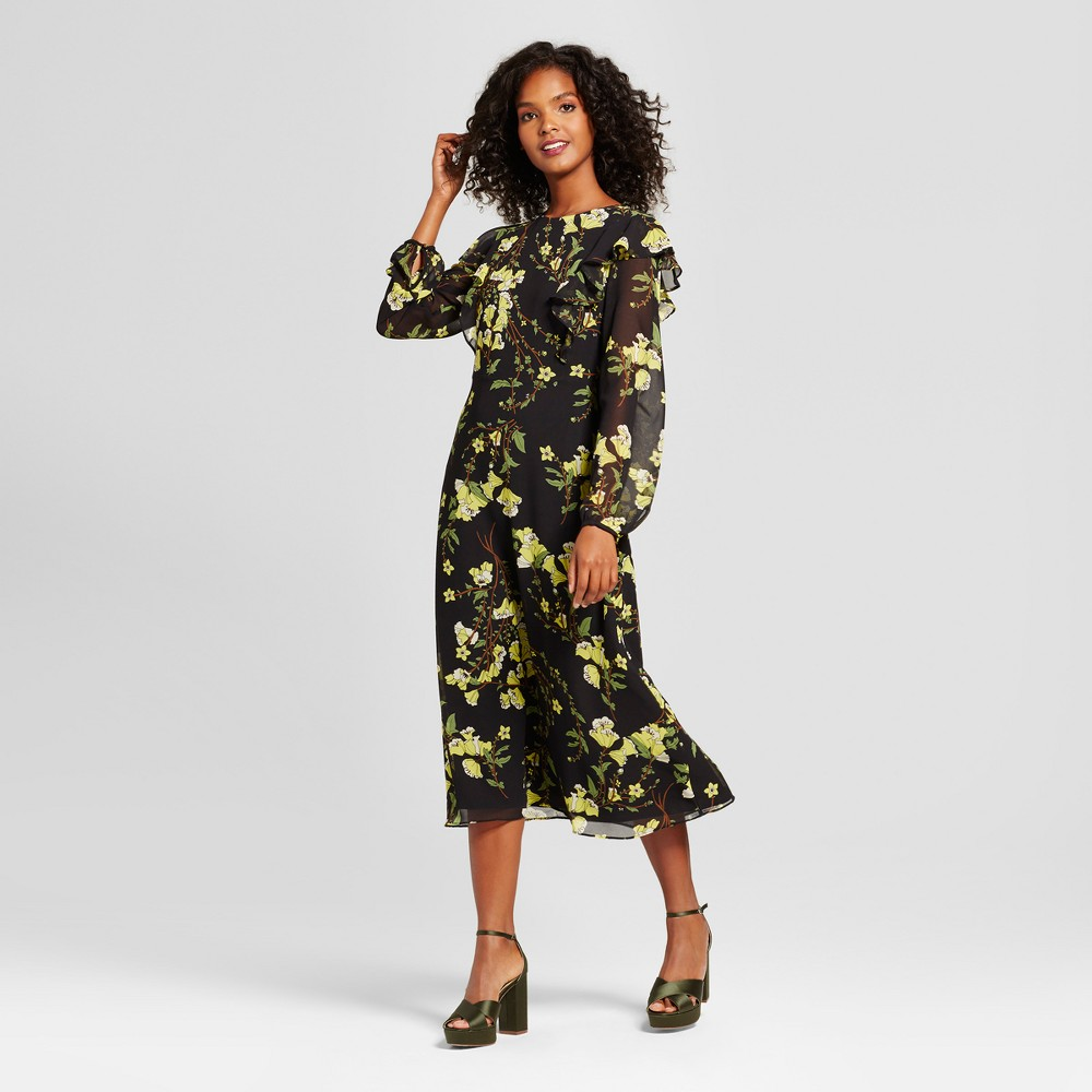 Womens Flutter Shoulder Dress- Who What Wear Black Floral L